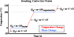 Q18. For a heating curve representative of water, which horizontal segment will be longer: a) the phase change from solid to liquid, or b) the phase change from liquid to gas? Why?