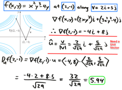 Chapter11.6: Ex3  Find the directional derivative of the function at the specified point in the direction of the specified direction vector