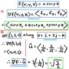 Chapter11.6: Ex4  a) Find the gradient of the given function b) Find the directional derivative of the function at the specified point in the direction of the specified direction vector