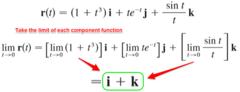 Find the lim r(t) as t approaches 0 where, r(t) = (1+t³)i + (te⁻¹)j + (sint/t)k