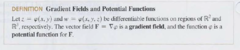 Gradient Fields and Potential functions