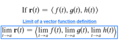 How is the limit of a vector function defined?