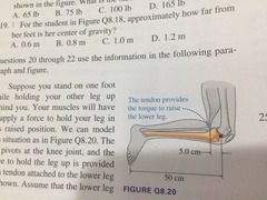 ((Knee picture )) 8.20 How much force must the tendon exert to keep the leg in this position? A 40 N B 200 N C 400 N D 1000 N 8.21 As you hold your leg in this position, the upper leg exerts a force on the lower leg at the knee joint. What is the direction of this force? A 40 N B 160 N C 200 N D 240 N 8.22 What is the magnitude of the force of the upper leg on the lower leg at the knee joint? A 1.0 mm B 1.4 mm C 2.0 mm D 4.0 mm