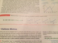 STT 2.1 Which position vs. time graph best describes the motion diagram to the left?