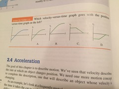 STT 2.3 Which velocity- versus time graph goes with the position versus- time graph on the left?