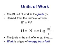 Work and energy units in metric system: